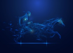 graphic of polygon horse and man racing with futuristic element