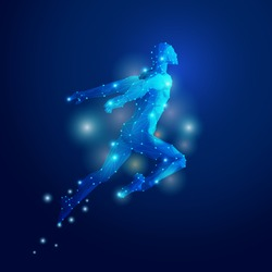 graphic of polygon man jumping with futuristic style