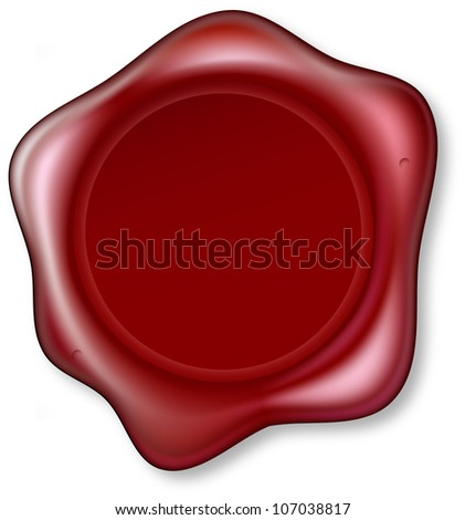 Graphic of red sealing wax that has been embossed. Wax Seal blank so you can place your design in the centrer.
