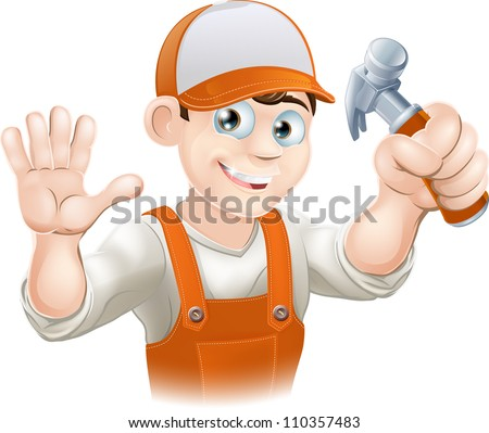Graphic of smiling handyman, builder, construction worker or carpenter in overalls holding a claw hammer and waving