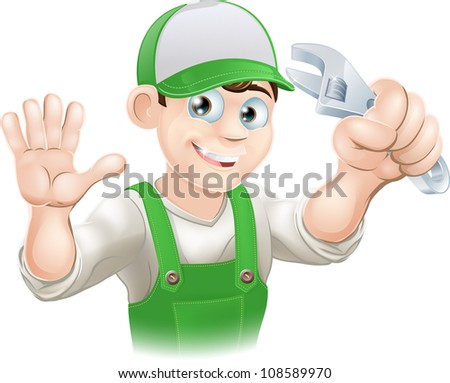 Graphic of smiling plumber or mechanic in overalls holding spanner and waving