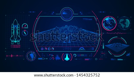 graphic of spaceship interface with digital technology element