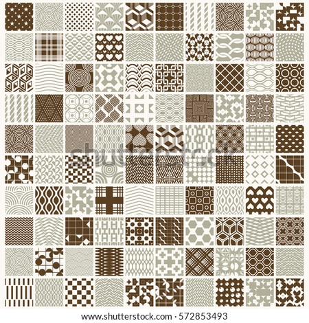 Graphic ornamental tiles collection, set of vector repeated patterns. 100 vintage art abstract textures can be used as wallpapers.