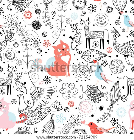 graphic pattern of animals - stock vector