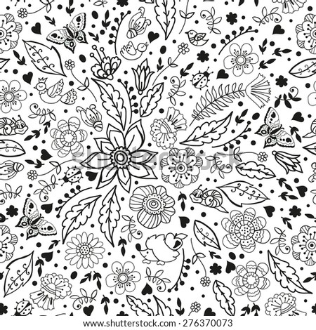 Graphic pattern with doodle flowers and cute animals Doodle pattern with funny characters and flowers Seamless pattern for fabric paper and other printing and web projects
