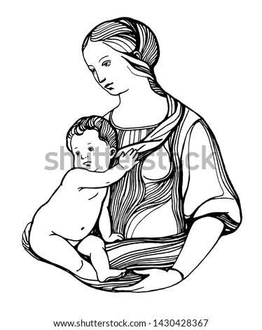 Graphic picture of the Madonna and baby. Vector EPS 10. Sketch made from paintings by Raphael.