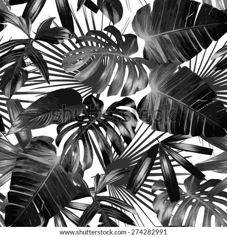 Graphic plant palm leaf tropic. Print black and white background style, exotic floral jungle. Trendy seamless vector pattern. Fashion vintage summer wallpaper Hawaiian backdrop.
