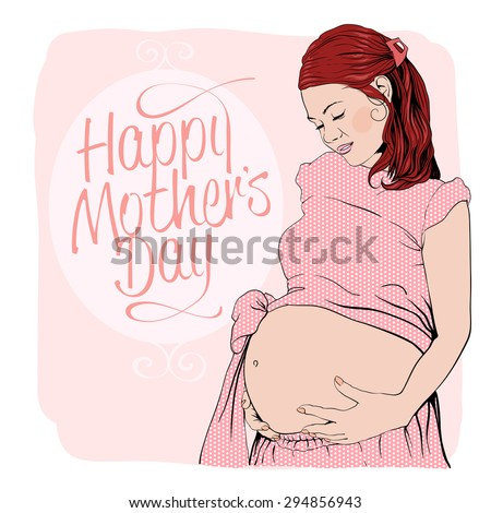 graphic portrait of a pregnant