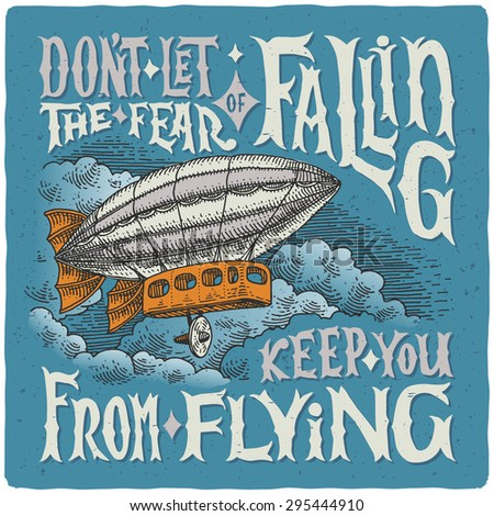graphic poster with airship and