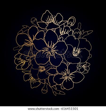 graphic sakura flowers in the