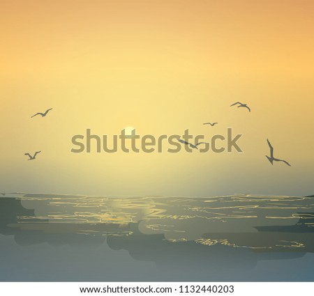 Graphic seascape. Seagulls and waves of the ocean. Dawn and sunset on the beach. Shades of sea water. #1132440203