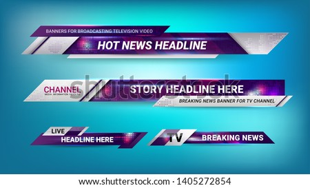 Graphic set of Broadcast News Lower Thirds Banner for Television, Video and Media Channel Foto d'archivio ©