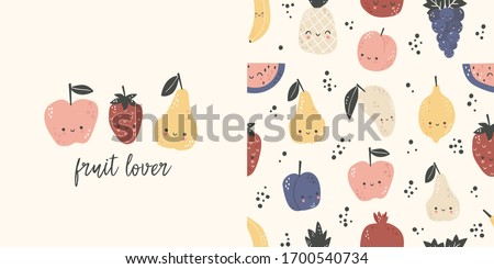 Graphic set of hand drawn illustration and seamless pattern with cute fruits. Cute t-shirt and textile design for kids clothing. Use for  fashion wear, t-shirt print, textile, surface design. Vector