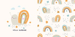 Graphic set of hand drawn illustration and seamless pattern with cute snails. Cute t-shirt and textile design for kids clothing.