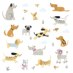 Graphic set of hand drawn illustration with cute dogs. Vector isolated