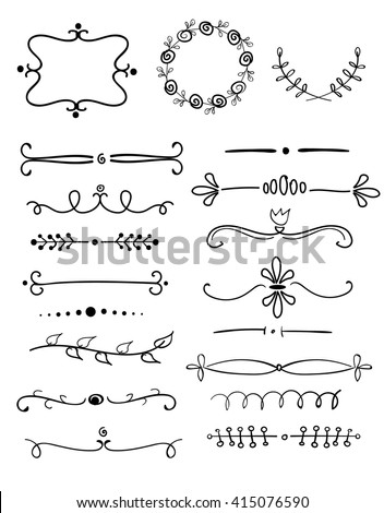 graphic set of  hand drawn wreaths, frames, laurels and text dividers, vector design elements