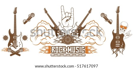 graphic set symbol of rock