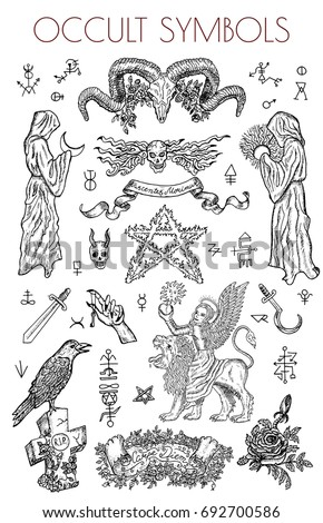graphic set with occult symbols