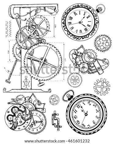 graphic set with vintage clock
