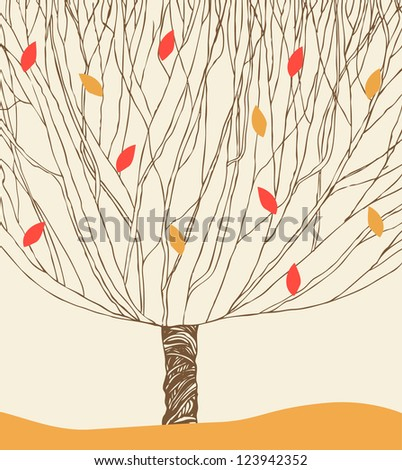 Graphic silhouette of the blossom  tree. Hand drawn elements for design, cards, illustrations, crafts, arts