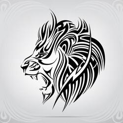 Graphic silhouette roaring lion