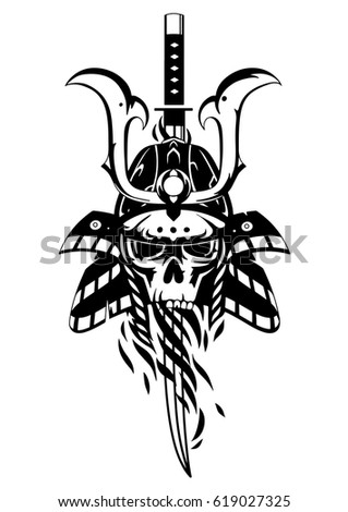 Graphic Skull In Traditional Samurai Helmet Pierced With A Sword