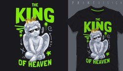 Graphic t-shirt design,typography slogan with baby angel sculpture ,vector illustration