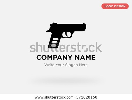 Graphic template of modern business logo for security service company with isolated black pistol, gun sign vector on gray background