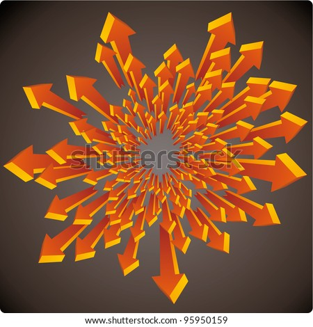 Graphic three dimensional arrows explosion on a dark background