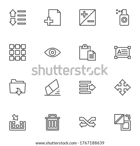Graphic tools line icons set, outline vector symbol collection, linear style pictogram pack. Signs logo illustration. Set includes icons as eraser, folder, content aware move tool, paint spray, delete Stock photo ©