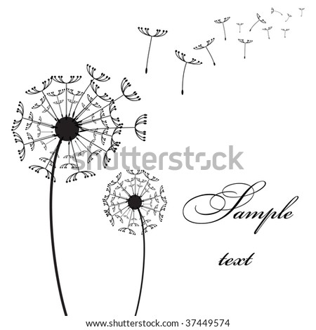 Graphic two dandelion on the wind vector picture