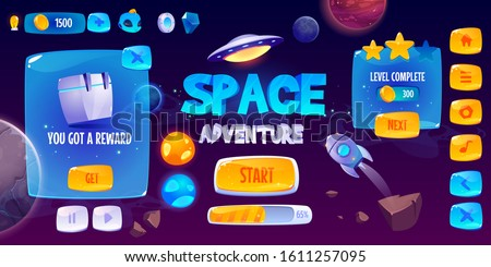 Graphic user interface for space adventure game. Vector screen of app gui design with glossy menu buttons and icons, panel with level and assets, start banner and background with rocket and planets