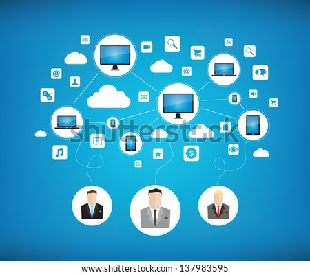 Graphic vector concept of some businessman using cloud computing network for teamwork with new modern technology devices. Isolated on blue background
