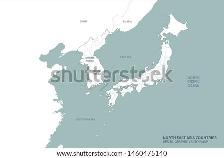 graphic vector east sea map of korea. south korea map