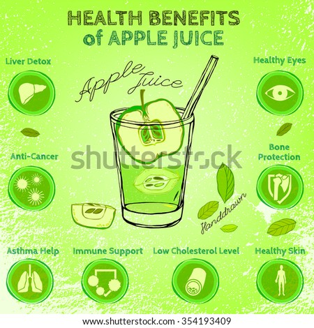 Graphic vector illustration of  beautiful hand drawn infographics with apple juice health benefits on a textured background. Fresh fruits for healthy life. Handmade.