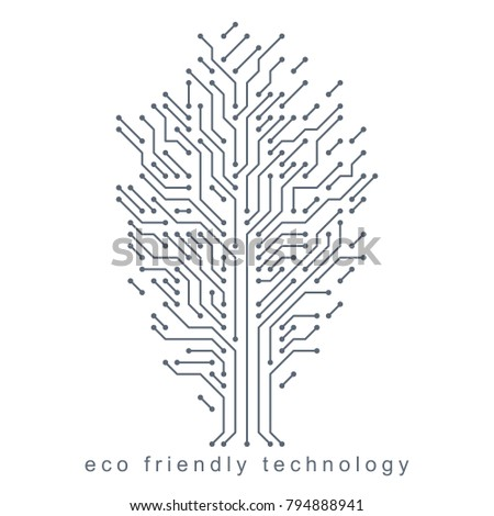 Graphic vector illustration of tree created in communication technology design. Eco friendly technology concept.