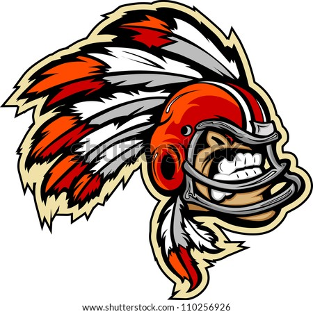 Graphic Vector lllustration of an Indian Chief Football Mascot with Feathers on Football Helmet