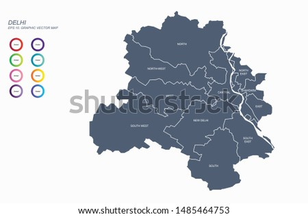 graphic vector map of delhi