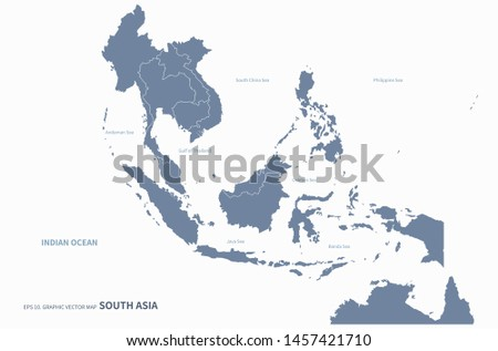 graphic vector map of south asia countries. detailed countries asia map.
