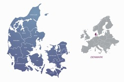 graphic vector of denmark map. europe country map.