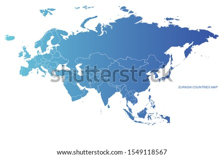 graphic vector of eurasia map. eurasia countries detailed map. europe, asia country map.
