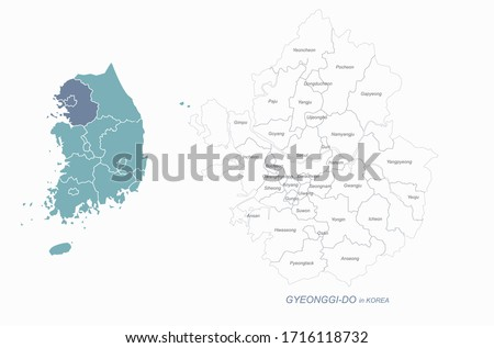 graphic vector of gyeonggi-do map. south korea map. gyeonggi do, seoul, incheon.