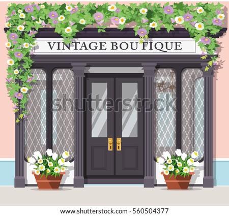 Graphic vintage boutique. Detailed stylish shop. Storefront. Flat style vector illustration.