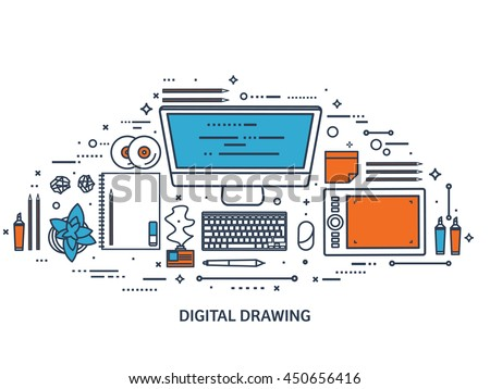 Graphic,web design illustration.Flat outline style.Line art.Designer workplace with tools.Web development,user interface design.UI.Digital drawing.Graphic design trends,ideas.Motion graphic software