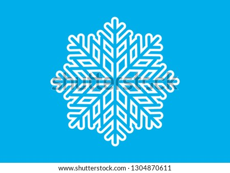 Graphic white snowflake vector. Abstract snowflake vector. White snowflake on a blue background. Decorative snowflake vector