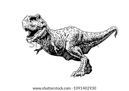 Graphical angry dinosaur isolated on white background,vector tyrannosaurus