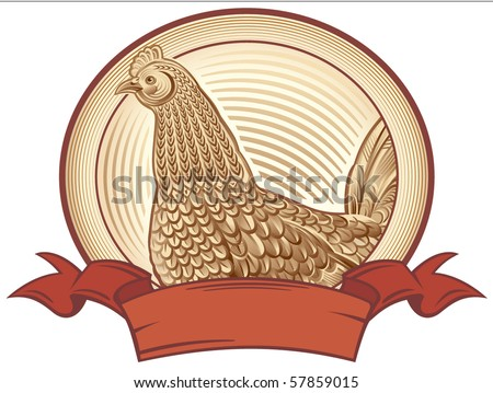 Graphical chicken. Vector object to label or trademarks.