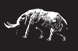 Graphical 3d illustration of woolly mammoth isolated on black background,ancient animal