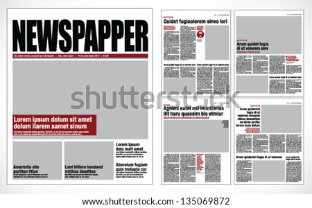 Graphical design newspaper template - Shutterstock ID 135069872