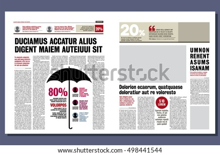 Graphical design newspaper template, highlighting figures and testimonials